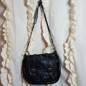 The Sak black leather adjustable crossbody bag